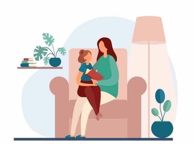 Ilustración made e hija estudiando en casa